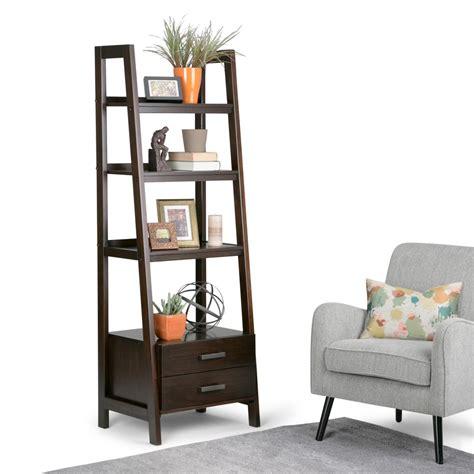 simpli home sawhorse chestnut brown storage ladder