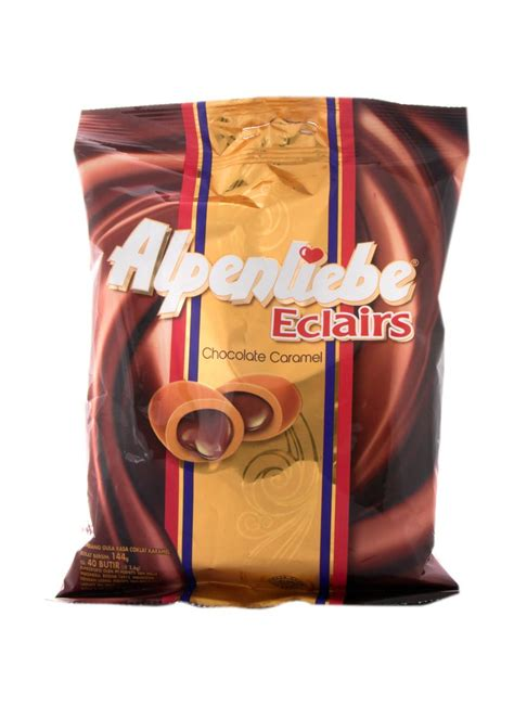 alpenliebe filled cokelat 38g alpenliebe chocolate caramel eclairs pck 144g