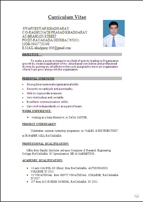 Resume Sles For B Freshers Resume Sle In Word Document Mba Marketing Sales Fresher Resume Formats Cv