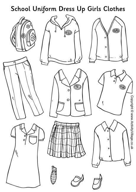 coloring pages school uniform here s a set of girls school uniform to colour cut out