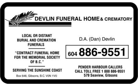devlin funeral home 579 seaview rd rr 9 gibsons bc
