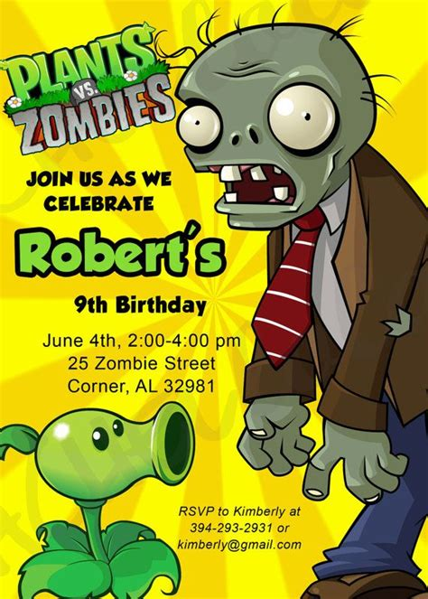 plants vs zombies invitation template plants vs zombies birthday invitation printable diy