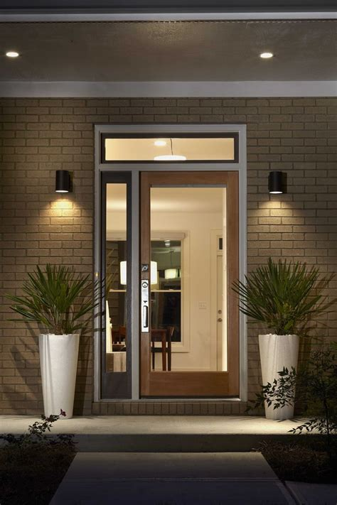 Outdoor Front Door Lights Glass Front Door With Side Top Panel Home Renovation Ideas Wall Mount Concrete