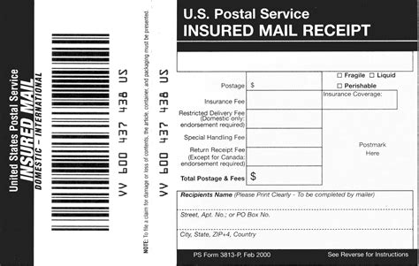 insurance receipt template domestic mail manual s913 insured mail