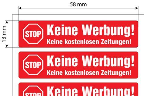 Keine Werbung Aufkleber by Keine Werbung Aufkleber Stop Briefkastenwerbung