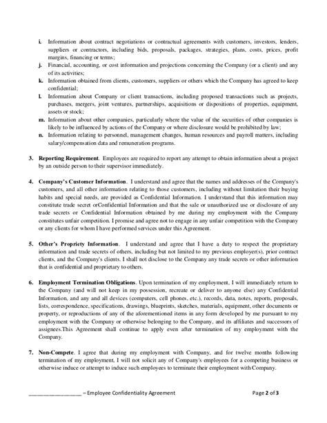 employee confidentiality agreement empolyee confidentiality agreement