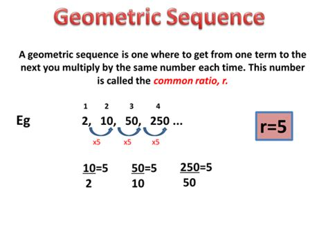 geometric number pattern formula geometric sequence and series powerpoint by nerys