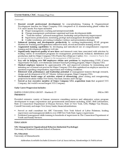 Resume Templates For Human Resources Executive Sle Resume Of Human Resources Executive Free