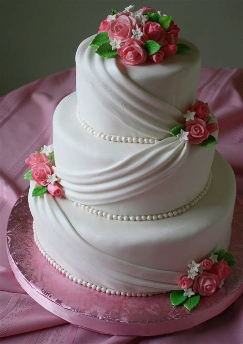 Fondant Wedding Cake With Pink Roses   CakeCentral.com