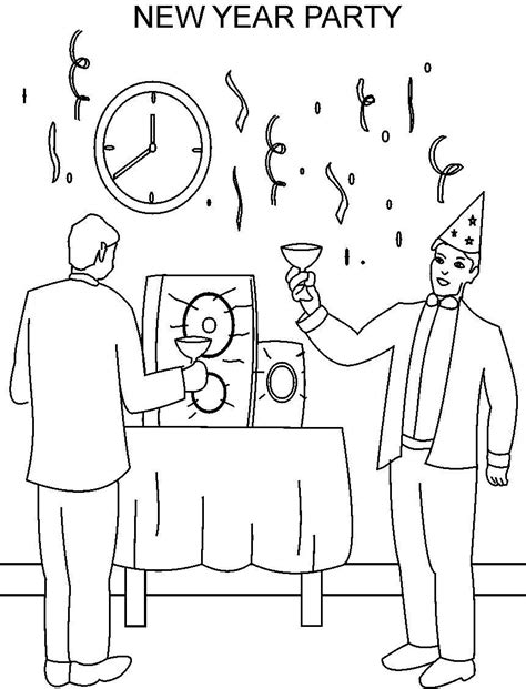 new year coloring pages pdf new year party printable coloring page