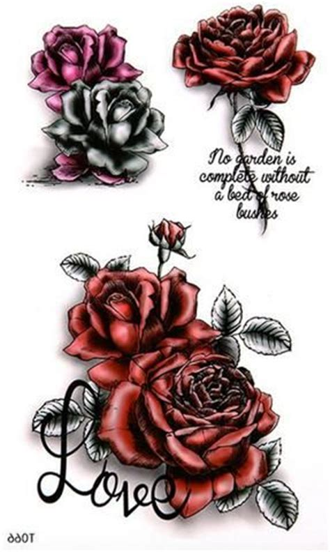 deep red rose tattoo temporary