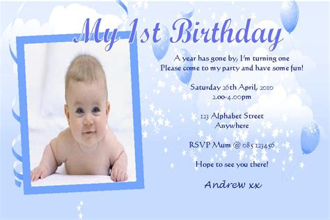 Baby Boy 1st Birthday Invitation Card Template by Personalised Birthday Photo Invitations Boy Design 8