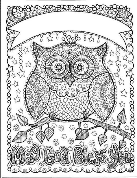 coloring pages for adults names owl may god bless you art to color and hang makes a great