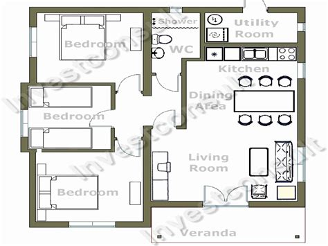 Small Floor Plan by Easy 4 Bedroom House Plans Luxury Small 3 Bedroom House