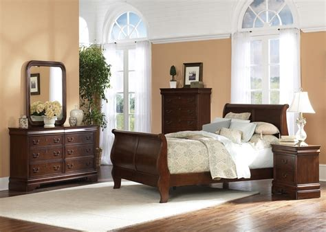 louis philippe sleigh bed 6 bedroom set in brown