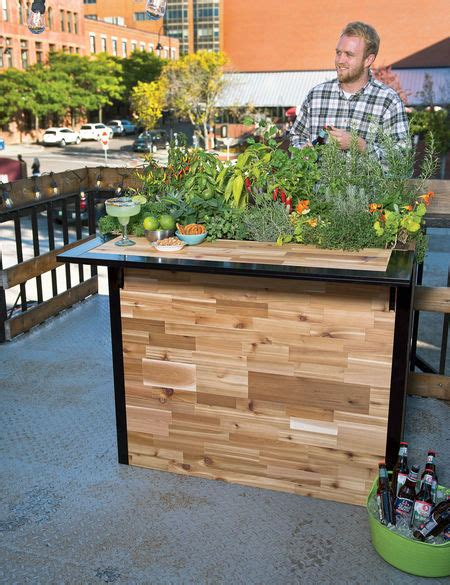 reclaimed wood small outdoor bar planter patio plant