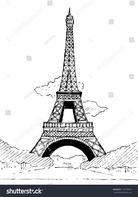 doodle tower eiffel tower doodle vector stock vector 116778247