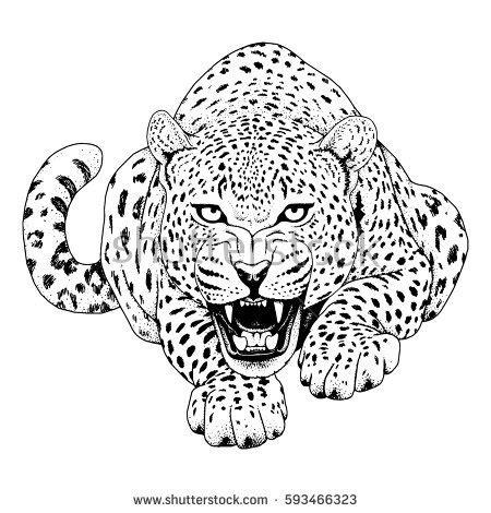 leopard face tattoo vector illustration print stock vector