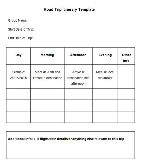 road trip itinerary template road trip itinerary template 9 free word excel pdf