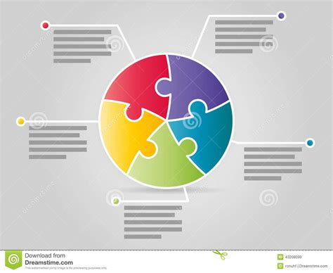 template graphics colorful five sided circle puzzle presentation infographic
