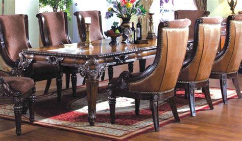 halyn antique brown formal dining room table