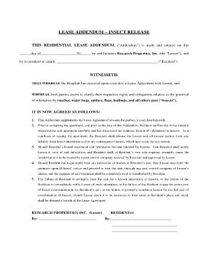 bed bug addendum lease addendum insect release fill online printable