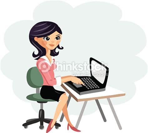 cartoon worker security vector art thinkstock young woman working on computer at desk vector cartoon