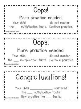 Parent Letter Math Facts send home nightly weekly to be sure parents where
