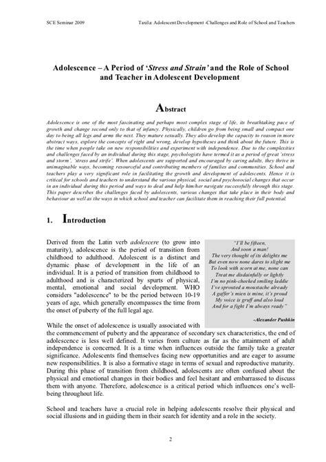 Adolescence Essay by Essay On Adolescence Period