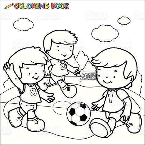 imagenes de niños jugando con globos para colorear libro para colorear ni 241 os jugando al f 250 tbol arte