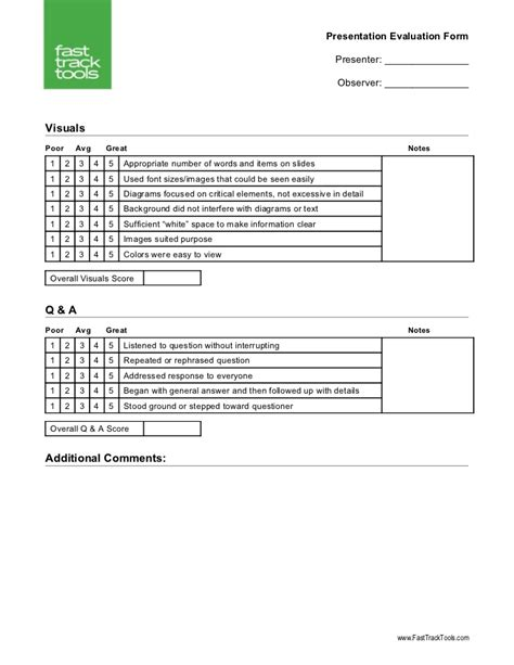 presenter evaluation form template presentation evaluation form v1 0