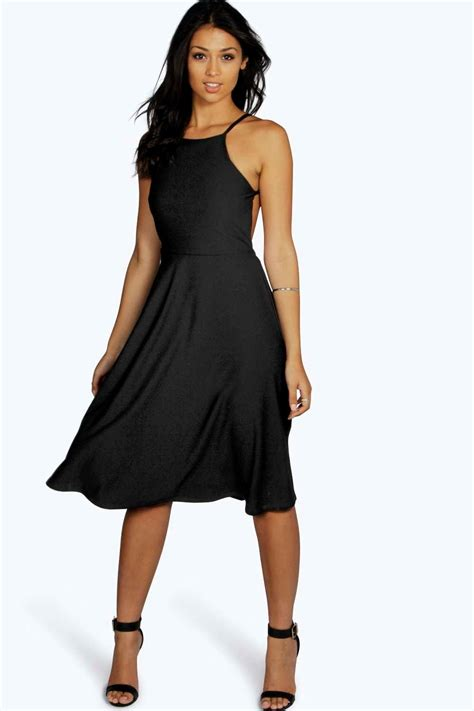 Backless Strappy Dress boohoo womens strappy backless midi skater dress