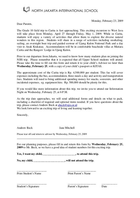 Parent Letter For Field Trip Class Trip Initial Trip Letter
