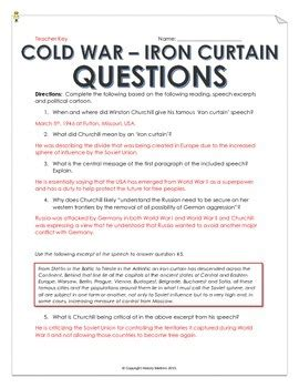 cold war iron curtain speech  cartoon analysis