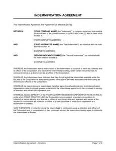 indemnification clause template indemnification agreement for directors template