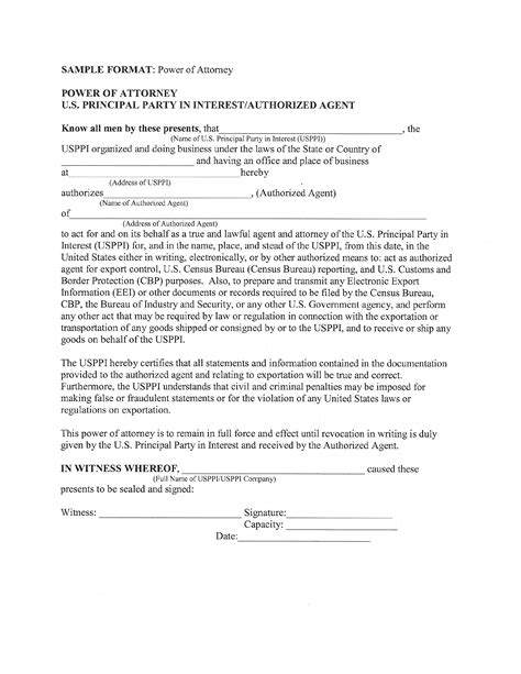 Power Of Attorney U S Principal Party In Interest Authorized Agent Free Download Poa Letter Template