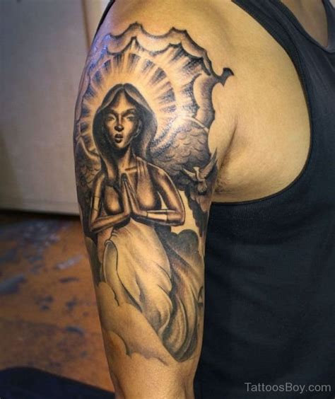 angel half sleeve tattoo guardian tattoos designs pictures