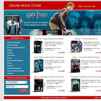 online movie store template free website templates in css