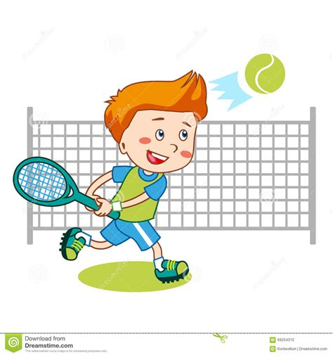 picture illustration young boy boy playing tennis kids tennis vector