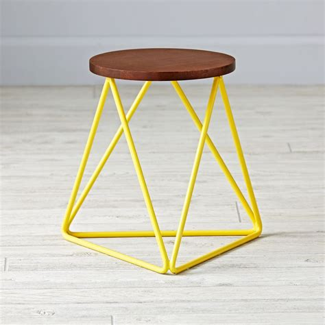 Greenish Yellow Stool by Eric Trine Linear Yellow Stool The Land Of Nod