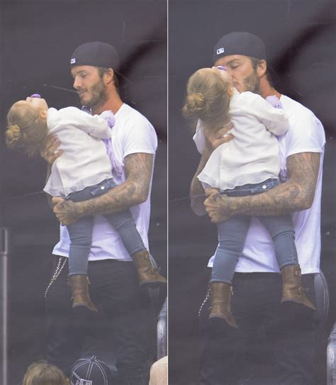 david beckham and harper beckham spotted at hockey game