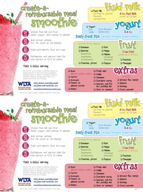 printable recipes for smoothies create a reimbursable meal smoothie western dairy
