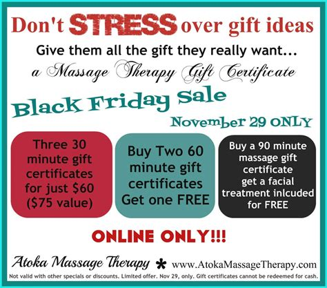 black friday massage therapy gift certificate special
