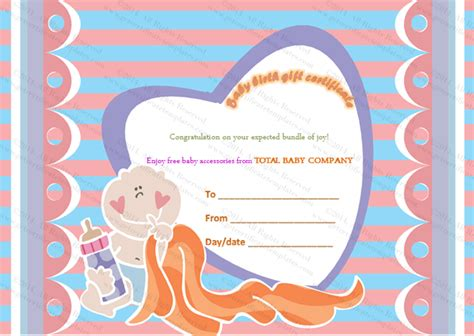 Baby Gift Card Template by Free Baby Gift Certificate Template G Wall Decal