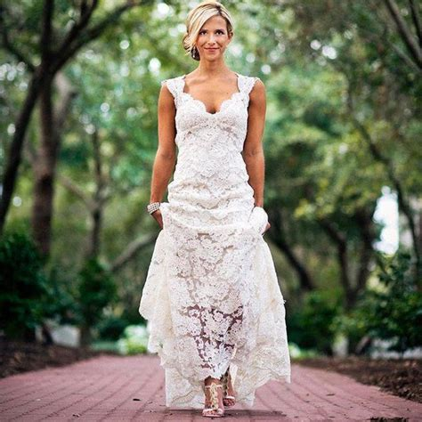 wedding dresses for country wedding pretty floral lace rustic wedding dresses v neck cap