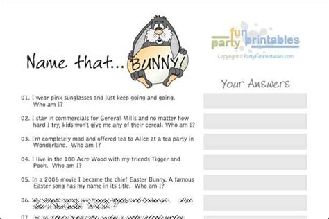 easter famous rabbits trivia 3 95 easter printable 17 best images about easter scavenger hunts and party