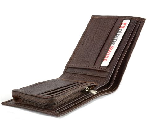 Leather Wallet Coin alpine swiss mens leather wallet zipper coin pocket 2