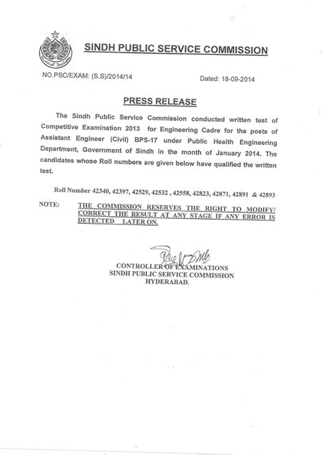Appointment Letter Of Civil Engineer Sindh Service Commission