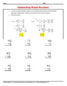 subtracting mixed number fractions 187 worksheetsdirect com