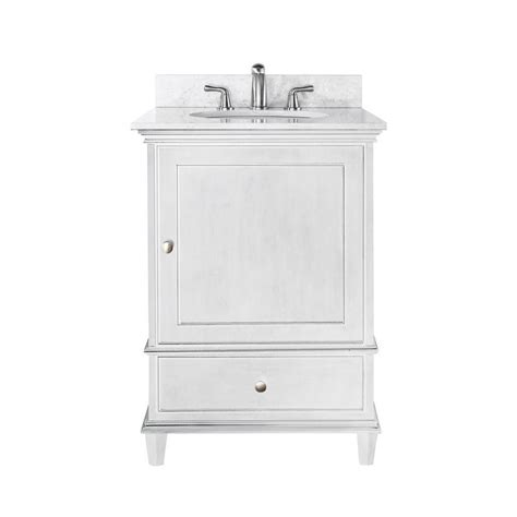 24 Inch Bathroom Vanity With Top Avanity 24 Inch Vanity With White Marble Top And Sink In White Finish Faucet